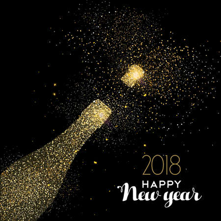 Illustration pour Happy new year 2018 gold champagne bottle celebration made of realistic golden glitter dust. Ideal for holiday card or elegant party invitation. EPS10 vector. - image libre de droit
