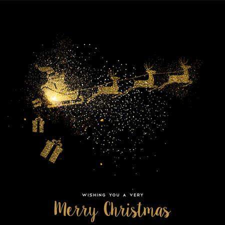 Ilustración de Merry Christmas gold luxury greeting card design. Santa Claus in sledge with deer made of golden glitter dust on black background. EPS10 vector. - Imagen libre de derechos