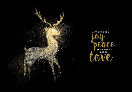 Merry Christmas gold deer luxury greeting card design. Reindeer made of golden glitter dust on black background. EPS10 vector.