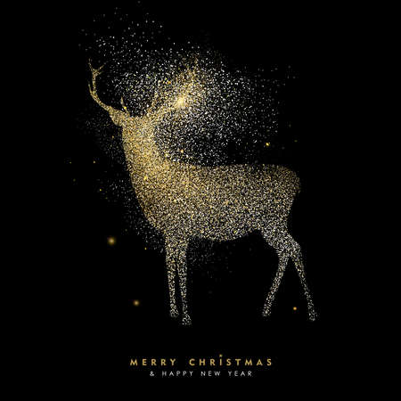 Illustration pour Merry Christmas and Happy New Year luxury greeting card design, gold reindeer silhouette made of golden glitter dust on black background. EPS10 vector. - image libre de droit