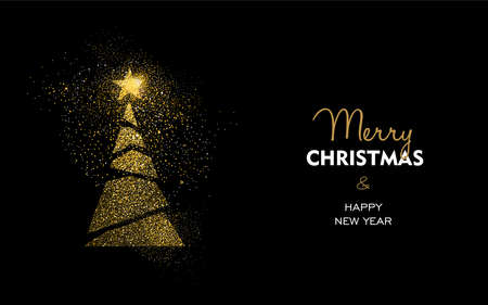 Illustration pour Merry Christmas and Happy New Year luxury greeting card design, abstract gold pine tree made of golden glitter dust on black background. EPS10 vector. - image libre de droit