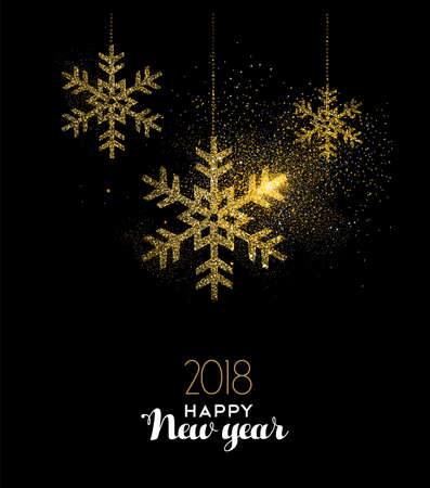 Illustration for Happy New Year 2018 luxury gold snow greeting card design. Snowflake made of golden glitter dust on black background. EPS10 vector. - Royalty Free Image