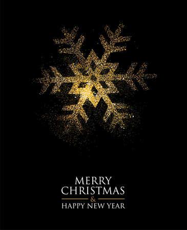 Illustration pour Snowflake made of golden glitter dust on black - image libre de droit