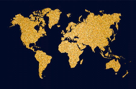 Ilustración de World map symbol concept illustration, gold planet geography icon made of golden glitter dust on black background. EPS10 vector. - Imagen libre de derechos