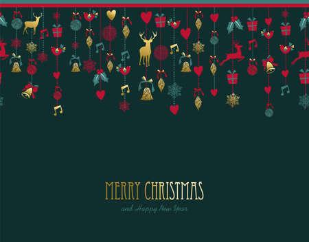 Ilustración de Merry Christmas happy new year golden ornament icon decoration with deer and vintage elements. - Imagen libre de derechos