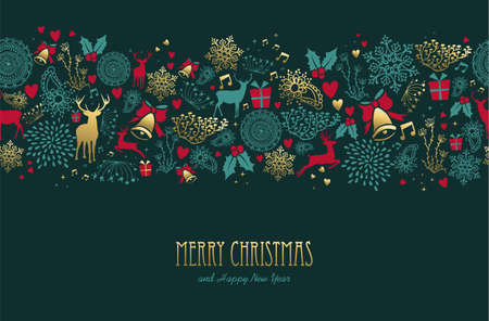 Ilustración de Merry christmas happy new year vintage golden pattern with deer and holiday elements. - Imagen libre de derechos