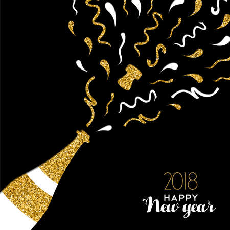 Illustration pour Happy new year 2018 gold champagne bottle with confetti made of golden glitter. - image libre de droit