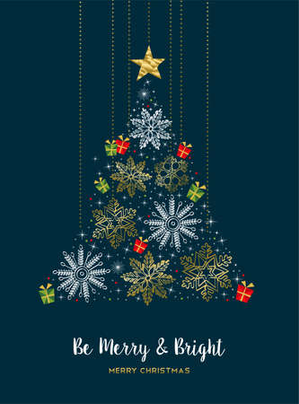 Ilustración de Merry Christmas modern luxury gold color decoration greeting card with winter holiday snowflakes in Christmas pine tree shape. - Imagen libre de derechos