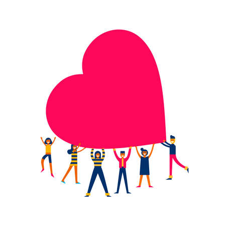 Illustration pour Group of people holding giant heart, love makes the change concept illustration in modern flat art style. - image libre de droit