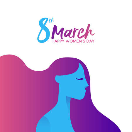 Illustration pour Women's Day on 8th of March greeting card illustration with beautiful long haired girl and inscription. - image libre de droit