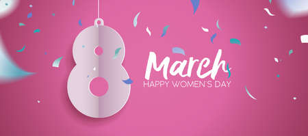 Illustration pour Happy Women's Day 2018 web banner illustration, paper cut March 8 sign with party confetti and typography quote. Fun celebration design in pink color. vector illustration. - image libre de droit