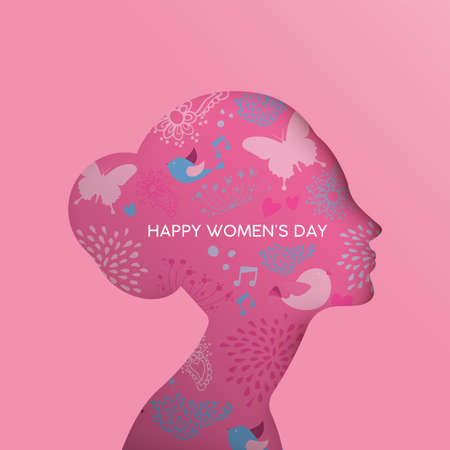 Illustration pour Happy Womens Day holiday greeting card illustration. Paper cut girl head silhouette cutout with hand drawn spring and nature doodles. EPS10 vector.     - image libre de droit