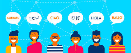 Illustration for Diverse group of people talking in different languages. Multi cultural team concept illustration ideal for web banner. EPS10 vector. - Royalty Free Image