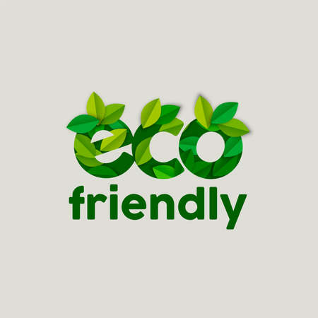 Ilustración de Eco friendly text sign concept illustration with tree leaves in paper cut style. Ecology typography label for awareness, products and environment help. EPS10 vector. - Imagen libre de derechos