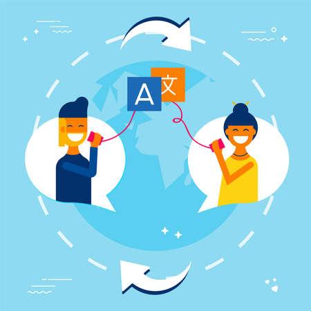 Illustration pour International communication concept illustration. Friends talking on social media in different languages using translation service. EPS10 vector. - image libre de droit
