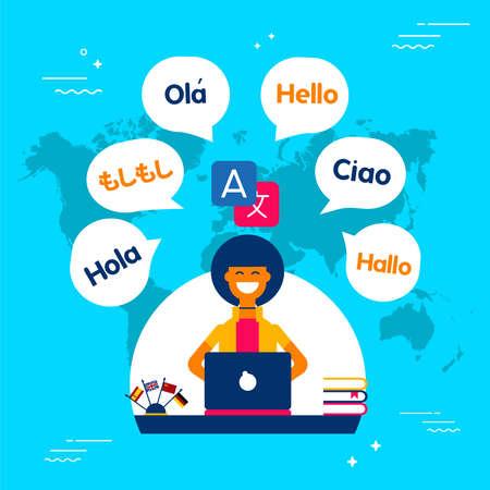 Illustration pour Multi language translator concept illustration. Girl on computer talking different languages using translation app. EPS10 vector. - image libre de droit