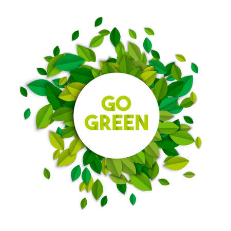 Illustration for Go green text sign concept illustration with leaf pile in paper cut style. Ecology typography label for awareness and environment help. EPS10 vector.     - Royalty Free Image