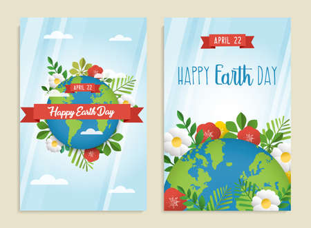 Illustration pour Happy Earth Day greeting card set of green planet with leaves, flowers and spring decoration. Eco friendly posters for environment conservation. EPS10 vector. - image libre de droit