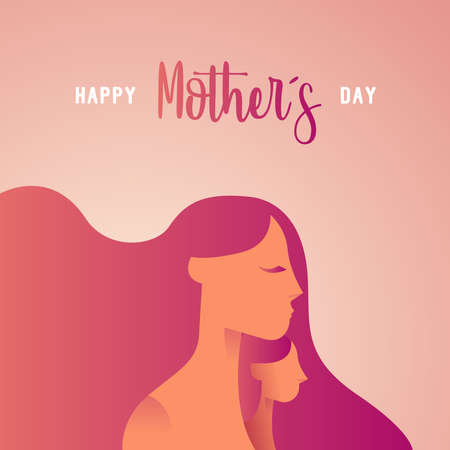 Illustration for Happy Mothers Day greeting card ilustration for family holiday with mom and child silhouettes. EPS10 vector. - Royalty Free Image