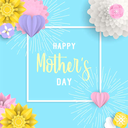 Illustration for Happy mothers day illustration with 3d paper flowers and hearts on pastel color background.  Design idea for greeting e-card. EPS10 vector. - Royalty Free Image