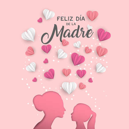 Illustration pour Happy Mothers day holiday greeting card illustration in spanish language. Pink paper cut mom and little girl silhouette cutout with 3d heart shape papercraft. - image libre de droit