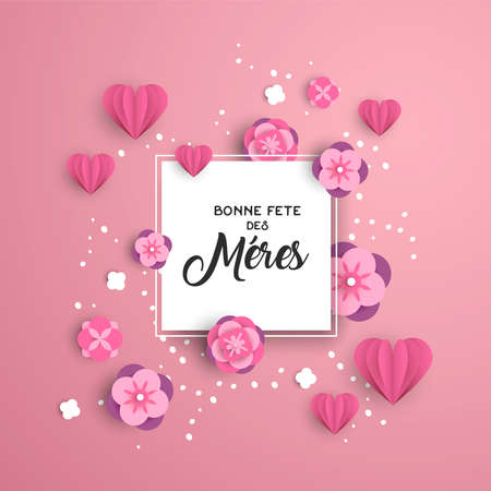 Illustration pour Happy Mothers day greeting card template in french language with pink paper cut hearts and flower decoration. - image libre de droit