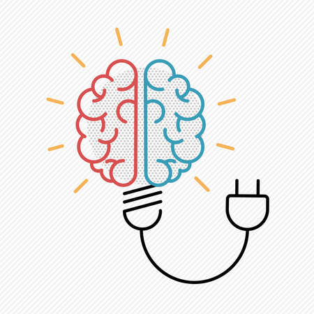 New idea concept illustration in modern outline design with human brain as electric light bulb.