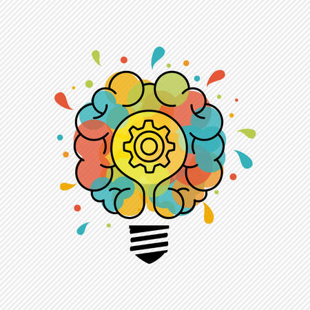 New creative ideas concept illustration of electric light bulb lamp with human brain in colorful art splash and outline style.