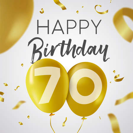 Illustration for Happy Birthday 70 seventy years, luxury design with gold balloon number and golden confetti decoration. Ideal for party invitation or greeting card. - Royalty Free Image