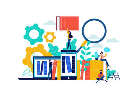 Illustration pour Virtual book library illustration, people studying for college exam preparation, distance learning phone app or e-library concept. - image libre de droit