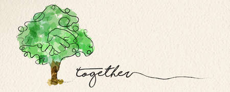 Illustration for Togetherness concept web banner with watercolor continuous line illustration of hand inside a tree. vector. - Royalty Free Image
