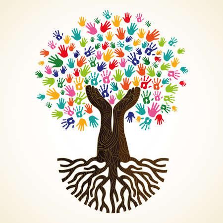Ilustración de Tree symbol with colorful human hands. Concept illustration for organization help, environment project or social work. vector. - Imagen libre de derechos