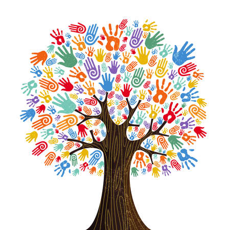Illustration pour Tree with colorful human hands together. Community team concept illustration for culture diversity, nature care or teamwork project.  vector. - image libre de droit