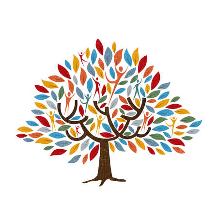 Illustration pour Family tree symbol with people and color leaves. Concept illustration for community help, environment project or culture diversity. vector. - image libre de droit