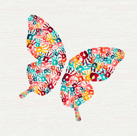 Foto per Human hand print butterfly shape concept. Colorful paint handprint background for diverse community or social project. vector. - Immagine Royalty Free