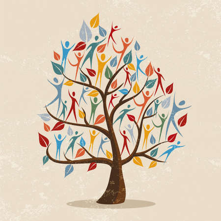 Illustration pour Family tree symbol with colorful people. Concept illustration for community help, environment project or culture diversity. vector. - image libre de droit
