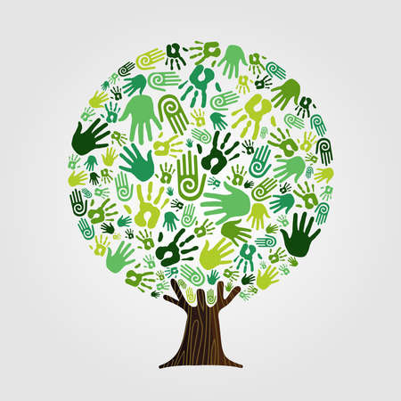 Illustration for Tree made of green human hands with branches and roots. Nature help concept, Environment group or earth care teamwork. vector. - Royalty Free Image
