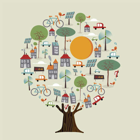 Ilustración de Tree with green planet earth, sustainable city. Environment care concept includes electric cars, wind mill turbine, bicycles and solar panels for nature help. vector. - Imagen libre de derechos