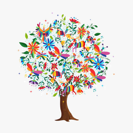 Illustration pour Floral tree made of colorful flower and animal icons in traditional mexican otomi art style. Springtime concept with daisy, deer, birds. vector. - image libre de droit