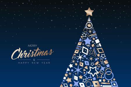 Ilustración de Merry Christmas and Happy New Year greeting card. Elegant xmas pine tree made of outline icon luxury decoration, copper color holiday illustration. EPS10 vector. - Imagen libre de derechos