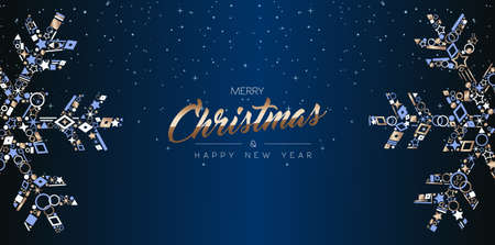 Illustration pour Merry Christmas and Happy New Year web banner design, elegant snowflake decoration made of luxury copper icons on night sky background. EPS10 vector. - image libre de droit