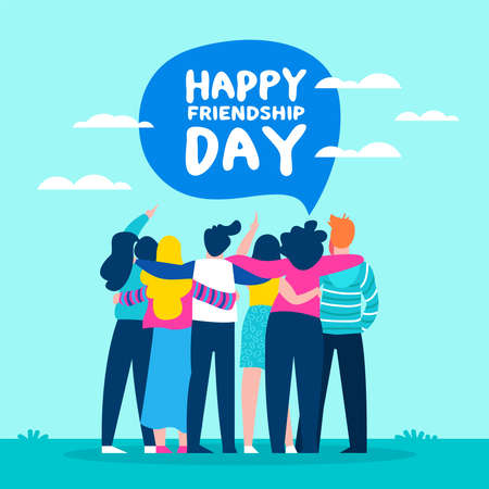 Ilustración de Happy friendship day illustration with diverse friend group of people hugging together for special event celebration. EPS10 vector.  - Imagen libre de derechos