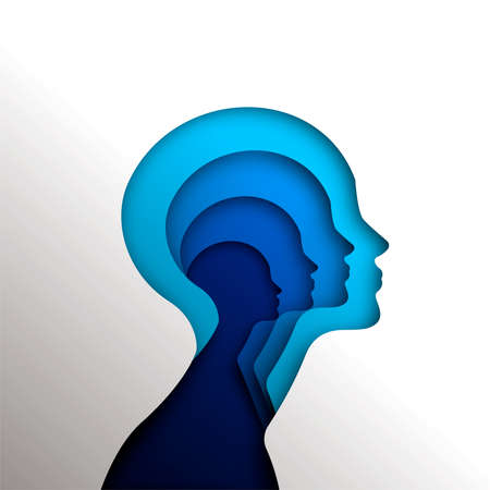 Illustration for Human heads in paper cut style for psychology, self help concept or mental health, blue woman head cutout illustration. EPS10 vector. - Royalty Free Image