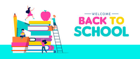 Photo pour Welcome Back to School web banner illustration, children playing around book pile with pencil, ruler and apple. Kids education concept in colorful style. EPS10 vector. - image libre de droit