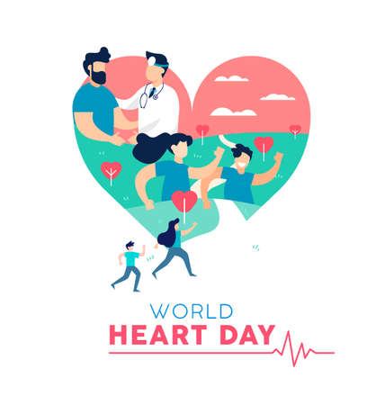 Illustration pour World Heart Day illustration concept, health care awareness. People running for disease prevention and doctor with patient. EPS10 vector. - image libre de droit