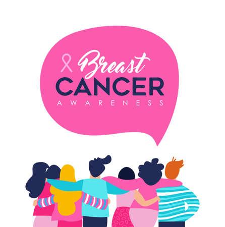 Illustration pour Breast Cancer Awareness month illustration of diverse women and men friend group hugging together for support, mixed team hug concept. EPS10 vector. - image libre de droit