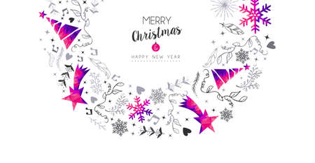 Illustration pour Merry Christmas Happy New Year greeting card design, pink low poly pine tree and Xmas season decoration with hand drawn holiday nature shapes. EPS10 vector. - image libre de droit