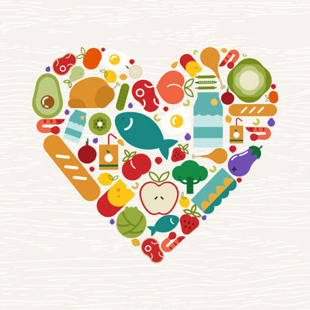 Food icons making heart shape for healthy eating or balanced nutrition concept. Includes fruit, vegetables, meat, bread and dairy.