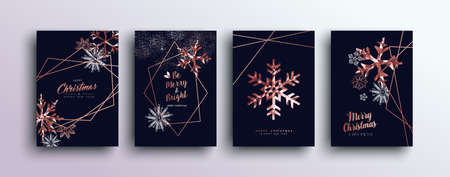 Ilustración de Merry christmas pink copper template set with winter snowflakes and xmas bronze elements in low poly style. Ideal for greeting card, poster or web design. - Imagen libre de derechos