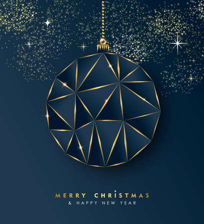 Illustration for Merry Christmas and new year gold luxury holiday greeting card. Luxury creative xmas ornament bauble made of golden frame outline. EPS10 vector. - Royalty Free Image